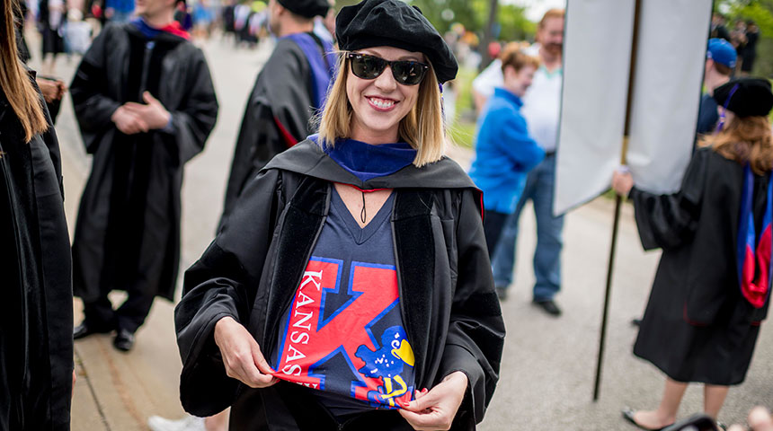 KU Law student at graduation
