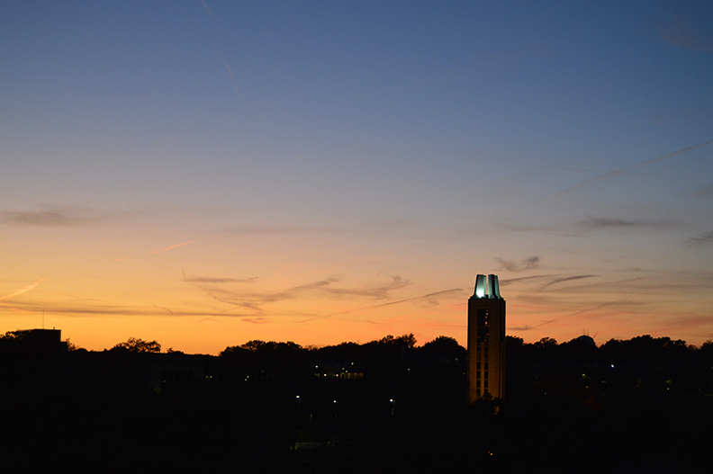 Campanile at sunset on the University of Kansas campus